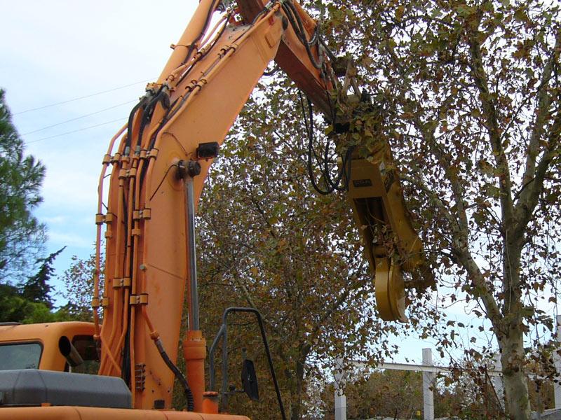 maszyna budowlana podczas pracy nad wycinką drzew